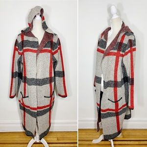 JOSEPH A plaid hooded open duster cardigan sweater